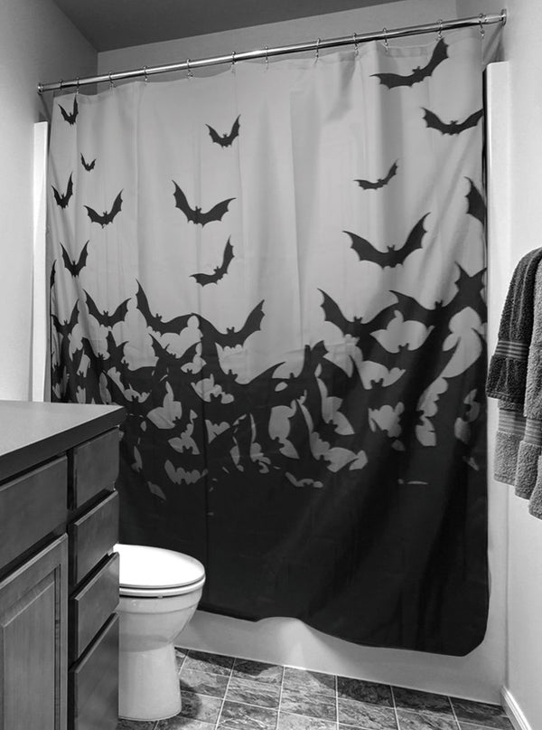 Fly Me To The Moon Shower Curtain By Too Fast Black