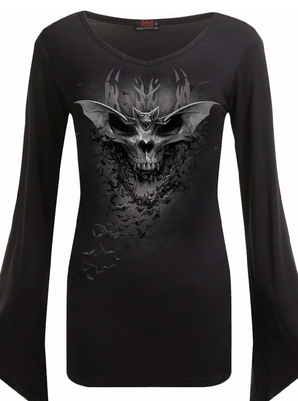 Women's Bat Skull V-Neck Goth Sleeve Top by Spiral USA