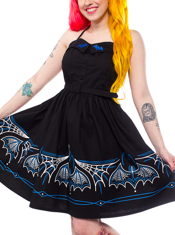 Women's Batty Pinstripe Spooksville Dress by Sourpuss