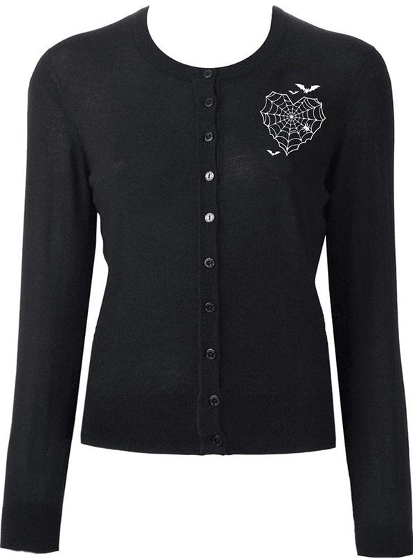 Women's Batty Web Heart Cardigan by Double Trouble Apparel