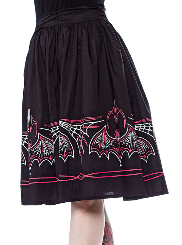 Women's Batty Pinstripe Skirt by Sourpuss