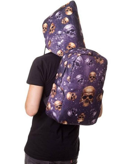 "Women's ""Skulls"" Backpack With Hood by Banned Apparel (Purple) - www.inkedshop.com"