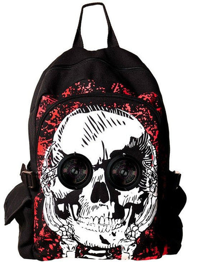 """Skull Speaker"" Backpack by Banned Apparel (Black/Red) - www.inkedshop.com"
