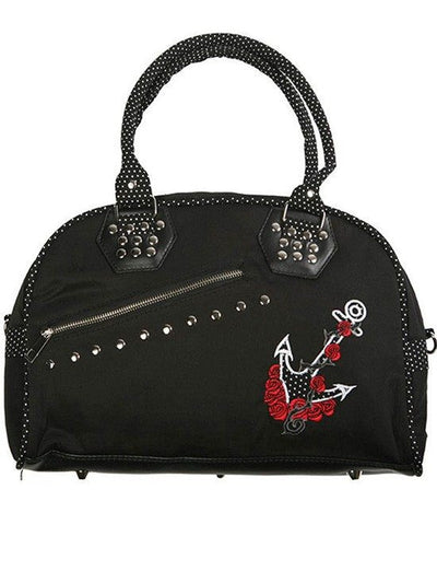 "Women's ""Black Dot Anchor"" Handbag by Banned Apparel (Black) - www.inkedshop.com"
