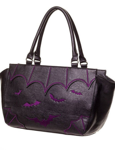 "Women's ""Bats"" Handbag by Banned Apparel (Purple or White) - www.inkedshop.com"
