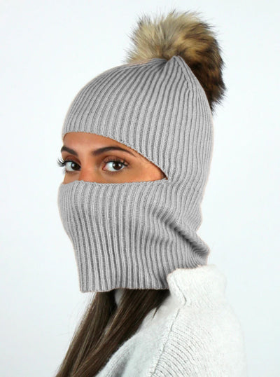 Face Covering Knit Pom Beanie