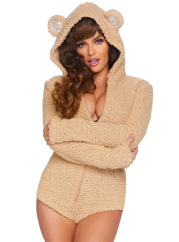 Women's Cuddle Bear Costume by Leg Avenue (Beige)