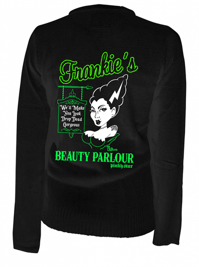 "Women's ""Frankie's Beauty Parlor"" Cardigan by Pinky Star (Black) - www.inkedshop.com"