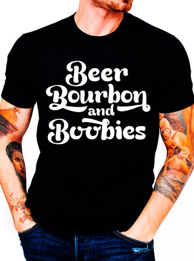 Men's Beer Bourbon and Boobies Tee by Dirty Shirty