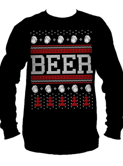 "Men's ""Beer"" Ugly Christmas Sweater Long Sleeve Tee by Cartel Ink (More Options)"