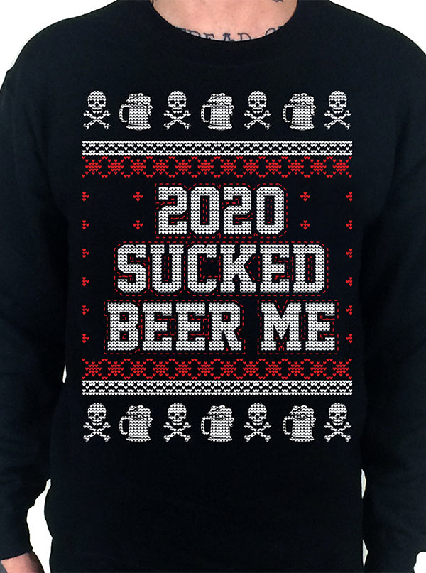Men's 2020 Sucked, Beer Me Ugly Christmas Crewneck Sweatshirt by Cartel Ink