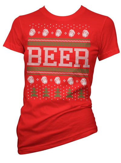 Women's Beer Ugly Christmas Sweater Tee by Cartel Ink