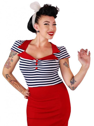 "Women's ""Bell Sleeve"" Dress by Pinky Pinups (Red) - www.inkedshop.com"