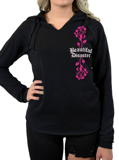 Women's Bella Rose V-Neck Hoodie by Beautiful Disaster