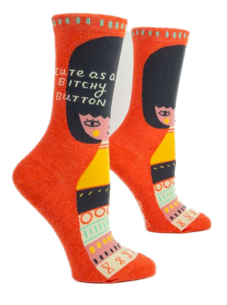 Women's Cute As A Bitchy Button Crew Socks