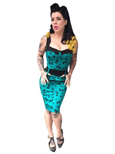 "Women's ""Black Cherry Darling"" Dress by Switchblade Stiletto (Turquoise) - www.inkedshop.com"