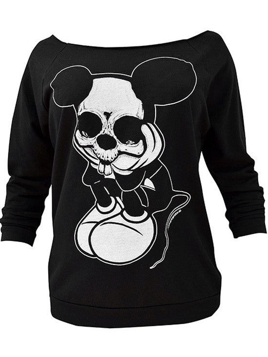 "Women's ""Sad Mouse"" Oversized Sweatshirt by Black Market Art (Black) - InkedShop - 1"