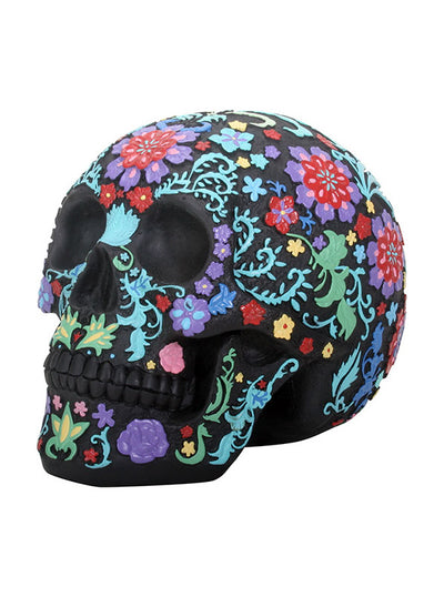 """Colored Floral"" Skull by Summit Collection (Black)"
