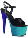 "Women's ""Adore-709 Ombre"" Heel by Pleaser (Black/Aqua)"