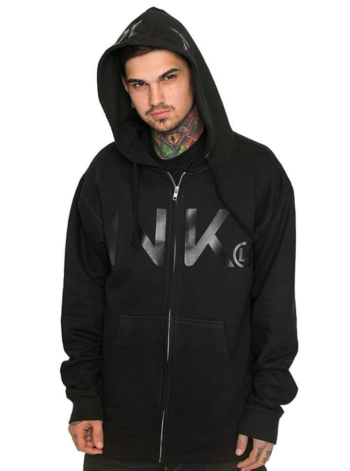 "Men's ""Ink"" Zip-Up Hoodie by InkAddict (Black Collection) - www.inkedshop.com"