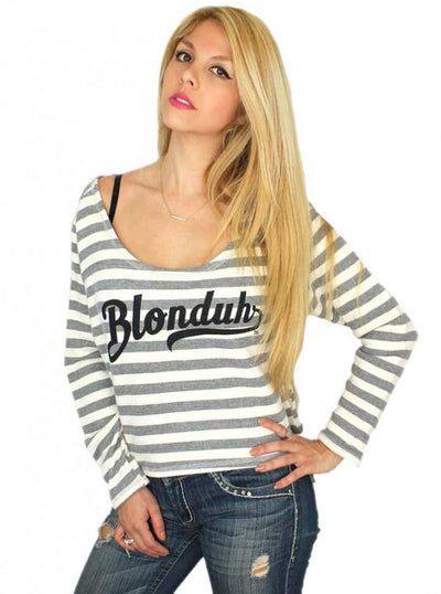 "Women's ""Blonduh"" Striped Boxy Sweater by Demi Loon (Grey/White) - www.inkedshop.com"
