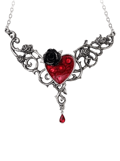 """Blood Rose Heart"" Necklace by Alchemy of England - www.inkedshop.com"