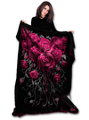 """Blood Rose"" Fleece Blanket by Spiral USA (Black) - www.inkedshop.com"
