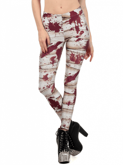 "Women's ""Bloody Mummy"" Leggings by Poprageous (White) - www.inkedshop.com"