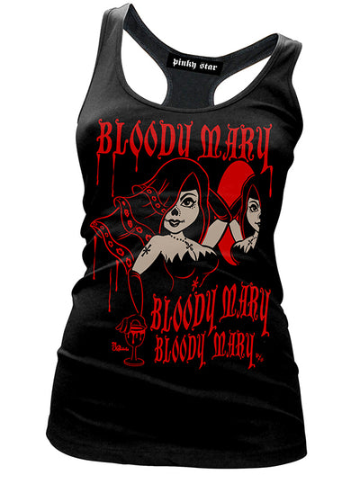 "Women's ""Bloody Mary"" Racerback Tank by Pinky Star (Black)"