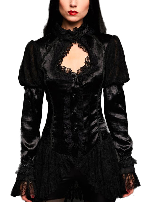 "Women's ""Fear of the Dark"" High Neck Blouse by Pretty Attitude Clothing (Black)"