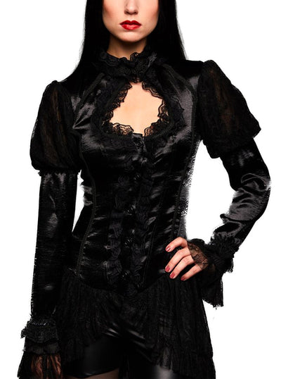 Women's Fear of the Dark High Neck Blouse by Pretty Attitude Clothing