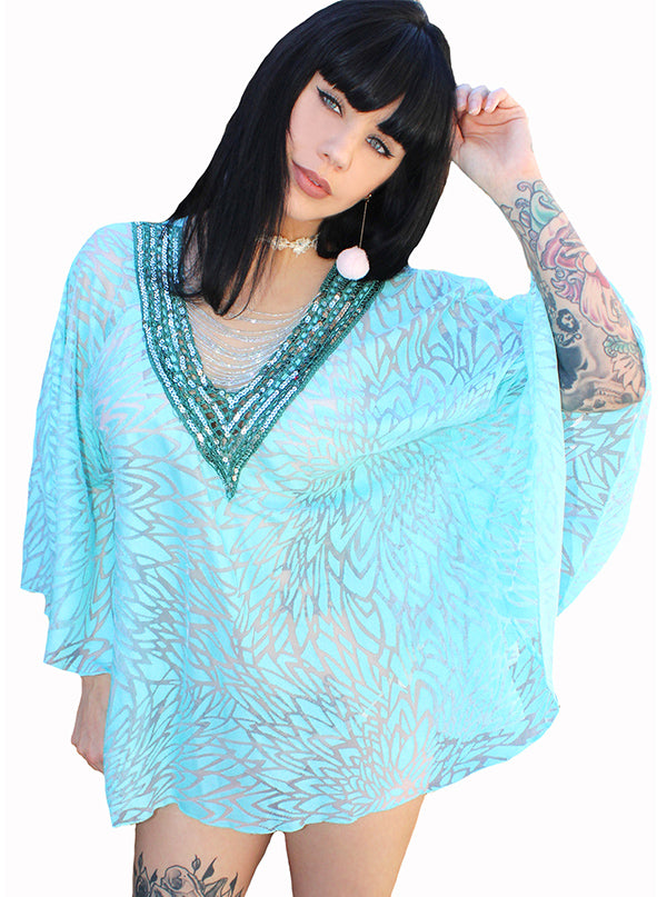 Women's Gypsette Kaftan Crochet Coverup by Demi Loon (Aqua Mermaid)