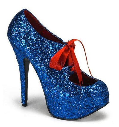 Blue Glitter with Red Lace Pumps by Bordello - InkedShop - 2
