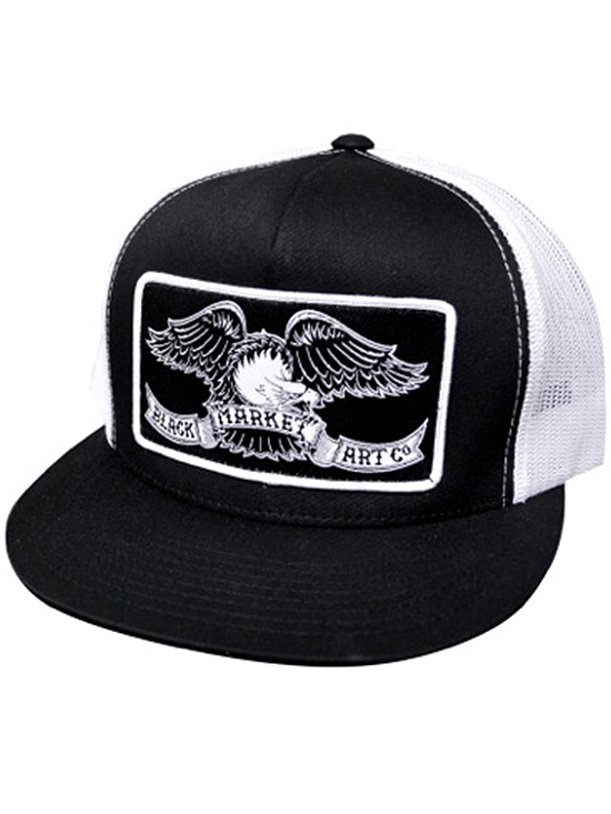 """Black Market Eagle"" Trucker Hat by Black Market Art (Black/White) - www.inkedshop.com"