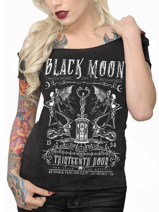 "Women's ""Black Moon"" Off The Shoulder Tee by Serpentine Clothing (Black) - www.inkedshop.com"