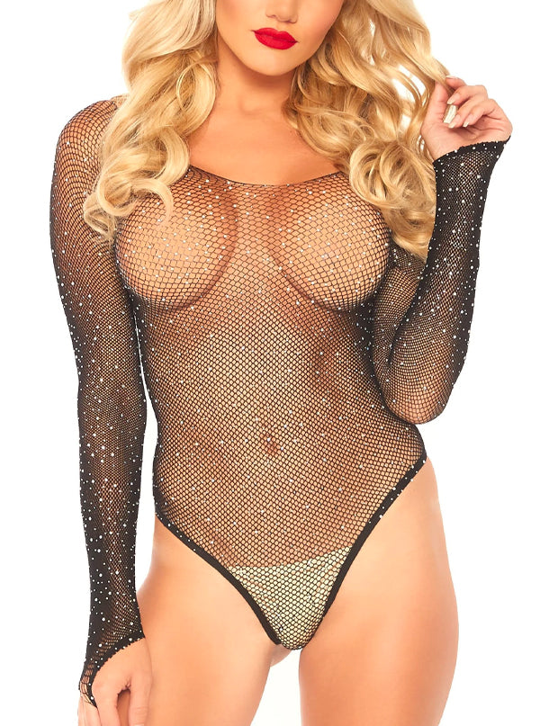 Women's Rhinestone Fishnet Bodysuit by Leg Avenue