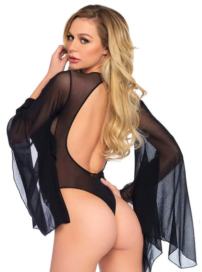 Women's Sheer Bell Sleeve Bodysuit by Leg Avenue