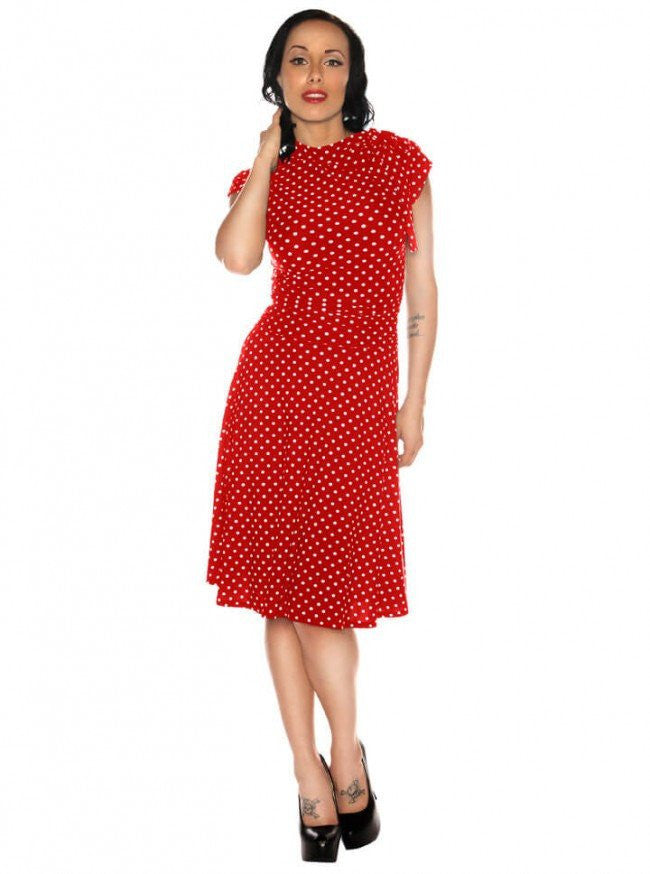 "Women's ""Polka Dot Bombshell"" Dress by Retrolicious (Red) - www.inkedshop.com"