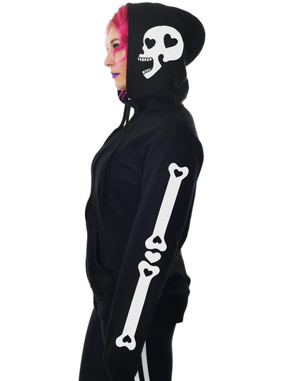 "Women's ""Heart Bones"" Zip Hoodie by Too Fast (Black)"