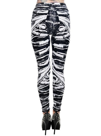 "Women's ""Ribcage Bones"" Lexy Leggings by Too Fast (Black)"