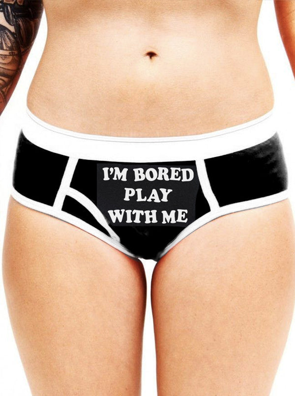 Women's I'm Bored, Play With Me Boy Brief Underwear by Aesop Originals