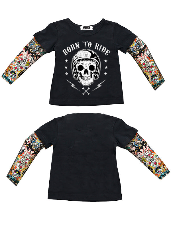 Kids Born to Ride Tattoo Sleeve Tee by Lethal Angel