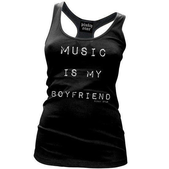 "Women's ""Music is My Boyfriend"" Racerback Tank by Pinky Star (Black) - InkedShop - 1"