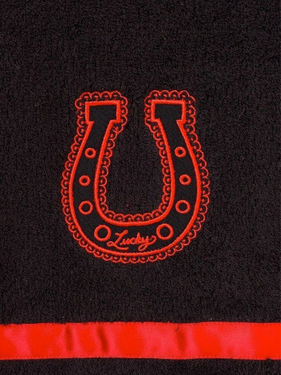 """Lucky Horseshoes"" Bathroom Towel Set by Sourpuss (Black/Red) - www.inkedshop.com"