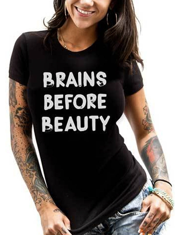 Women's Brains Before Beauty Tee by Dirty Shirty
