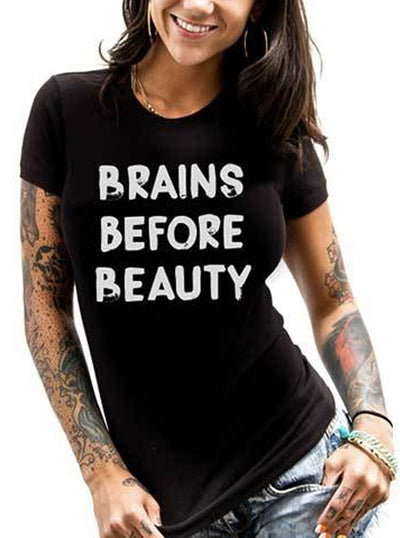 "Women's ""Brains Before Beauty"" Tee by Dirty Shirty (Black)"