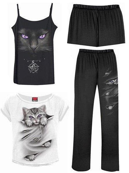 "Women's ""Bright Eyes"" 4Pc Gothic Pajama Set by Spiral USA (Black/White) - www.inkedshop.com"