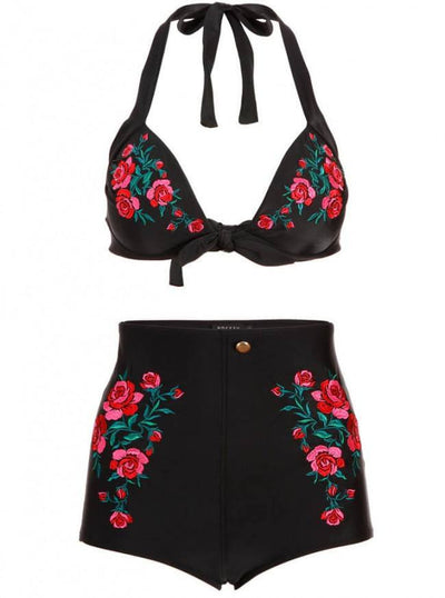 "Women's ""Bring Out The West In Me"" High Waist Bikini by Pretty Attitude Clothing (Black) - www.inkedshop.com"