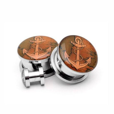 Brown Anchor Picture plugs by Mystic Metals Body Jewelry - InkedShop - 2