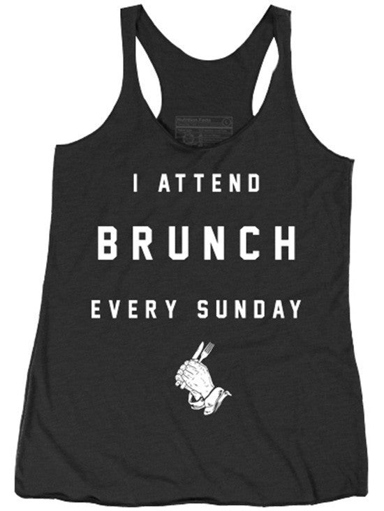 "Women's ""I Attend Brunch Every Sunday"" Racerback Tank by Pyknic (Black) - www.inkedshop.com"